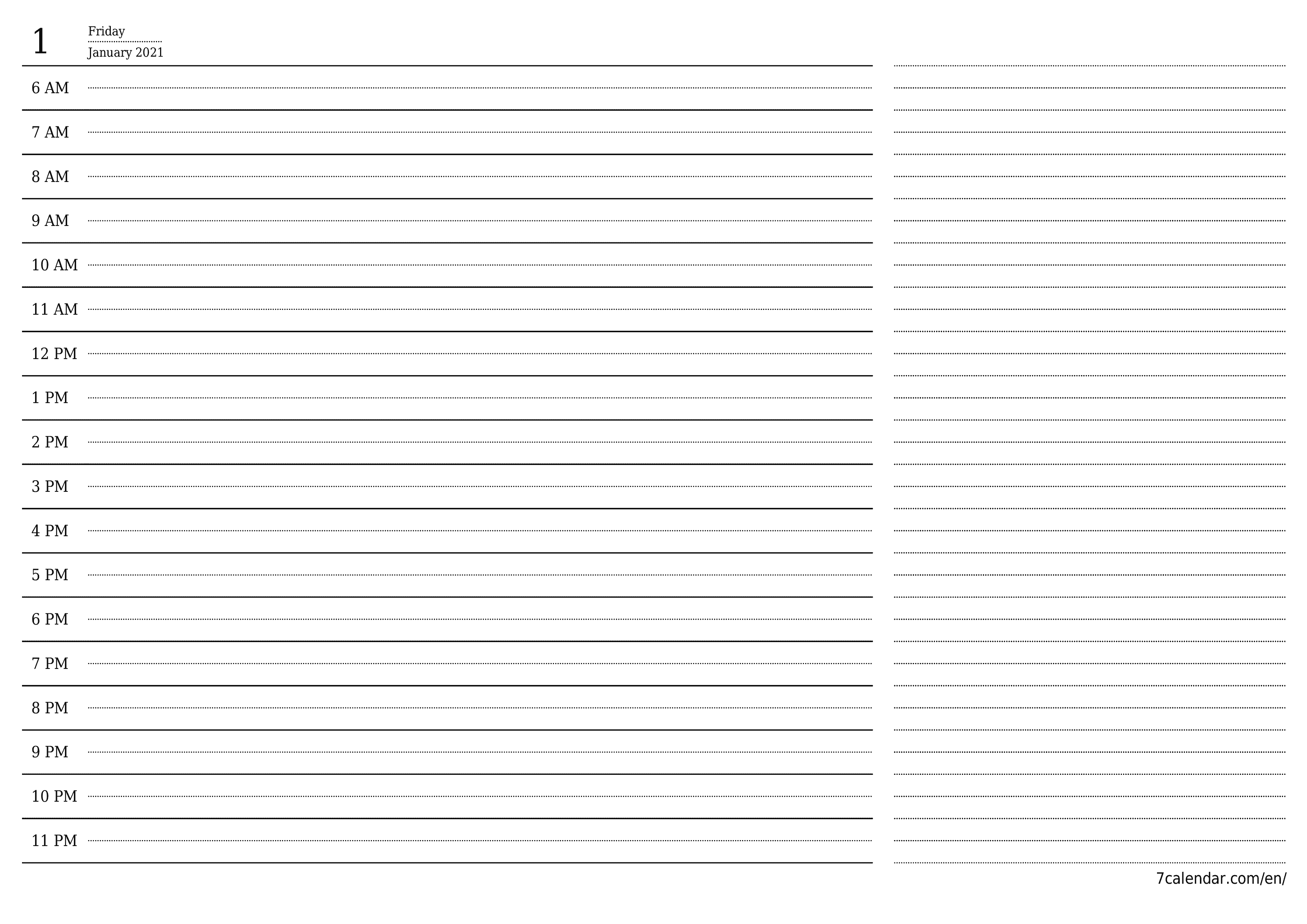 Blank daily calendar planner for day January 2021 with notes, save and print to PDF  - 7calendar.com