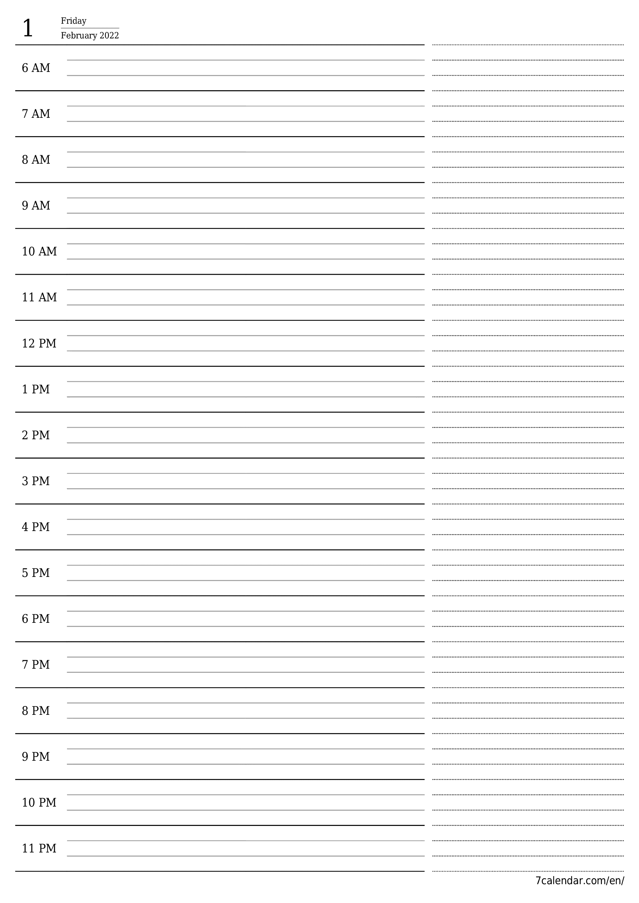 Blank daily calendar planner for day February 2022 with notes, save and print to PDF  - 7calendar.com