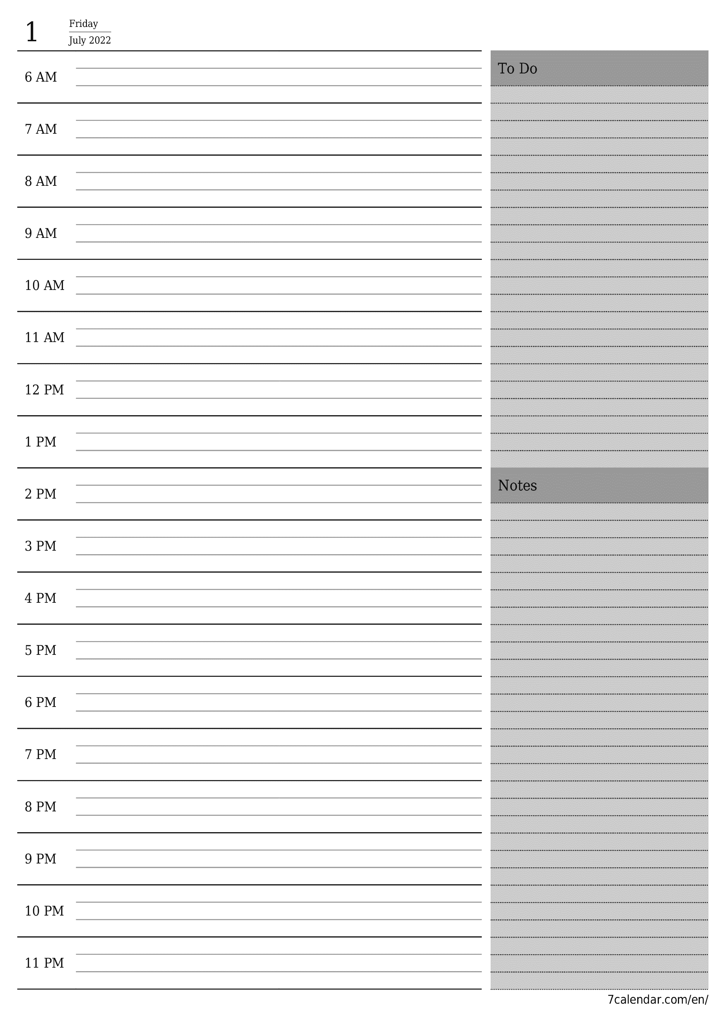Blank daily calendar planner for day July 2022 with notes, save and print to PDF  - 7calendar.com