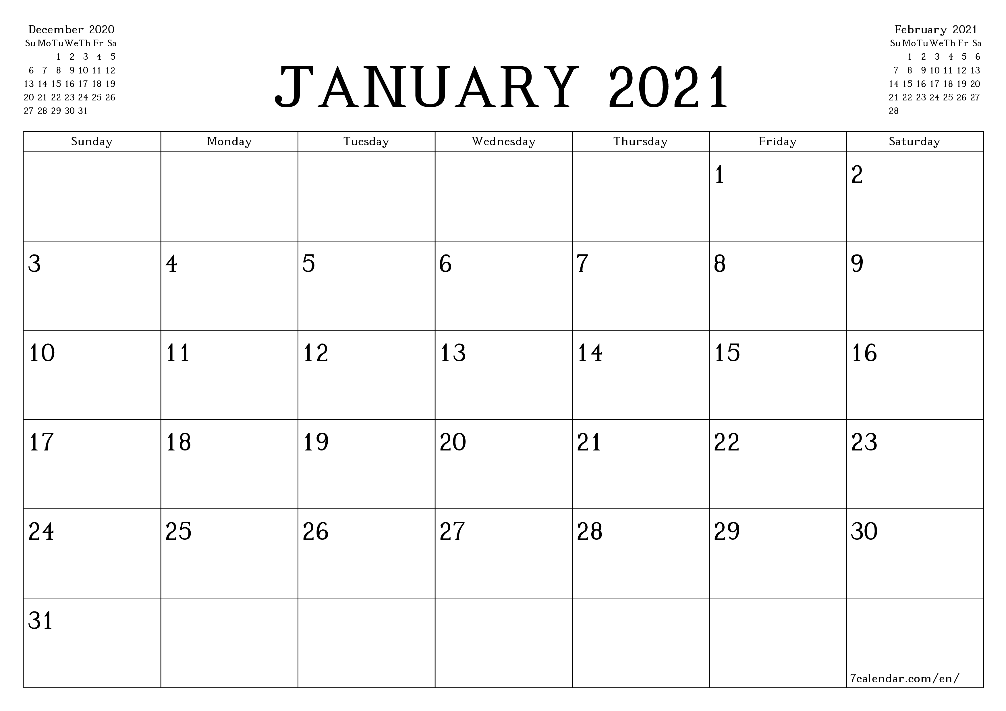 Blank monthly calendar planner for month January 2021 with notes save and print to PDF  - 7calendar.com