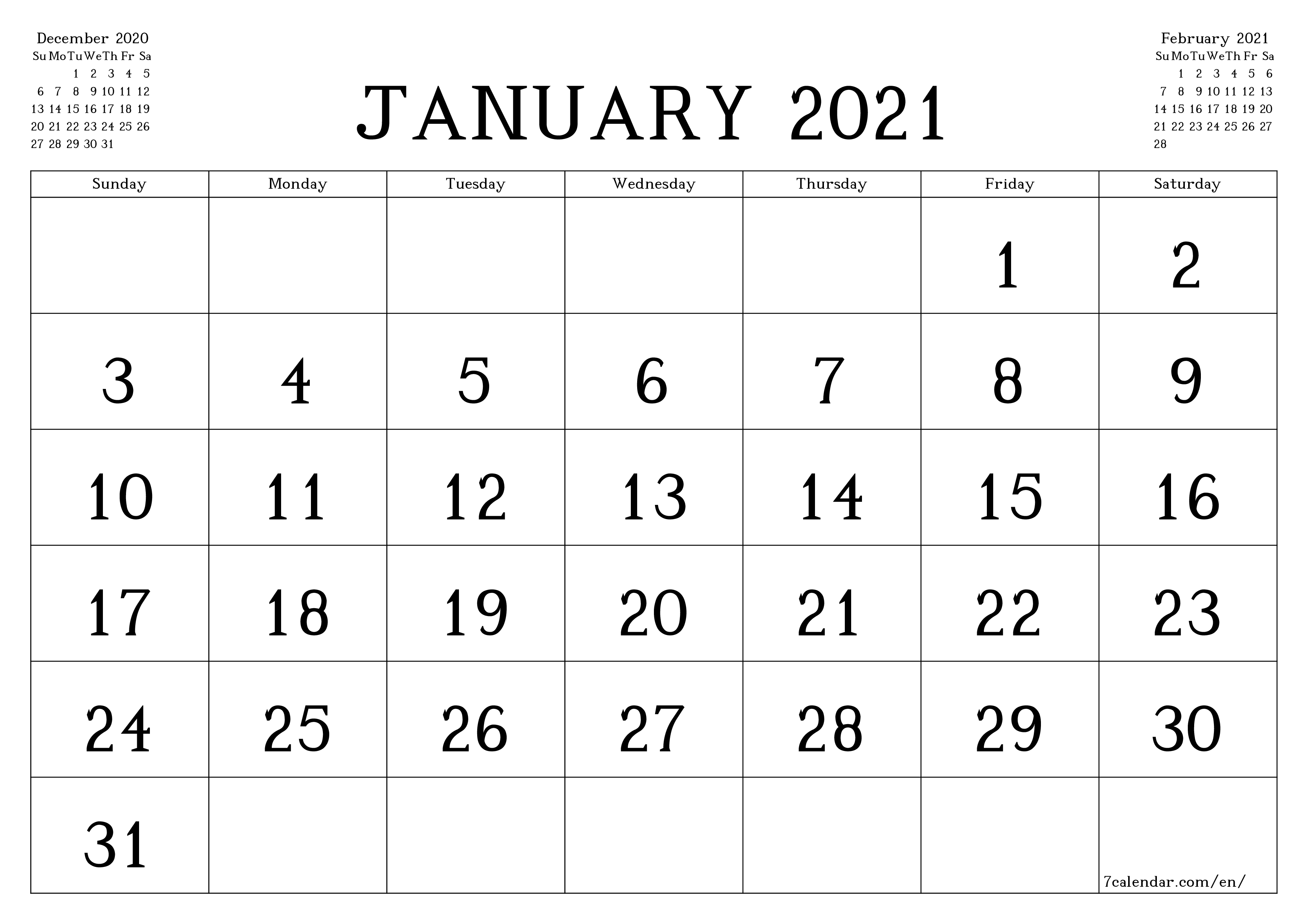 Blank monthly calendar for month January 2021 save and print to PDF  - 7calendar.com
