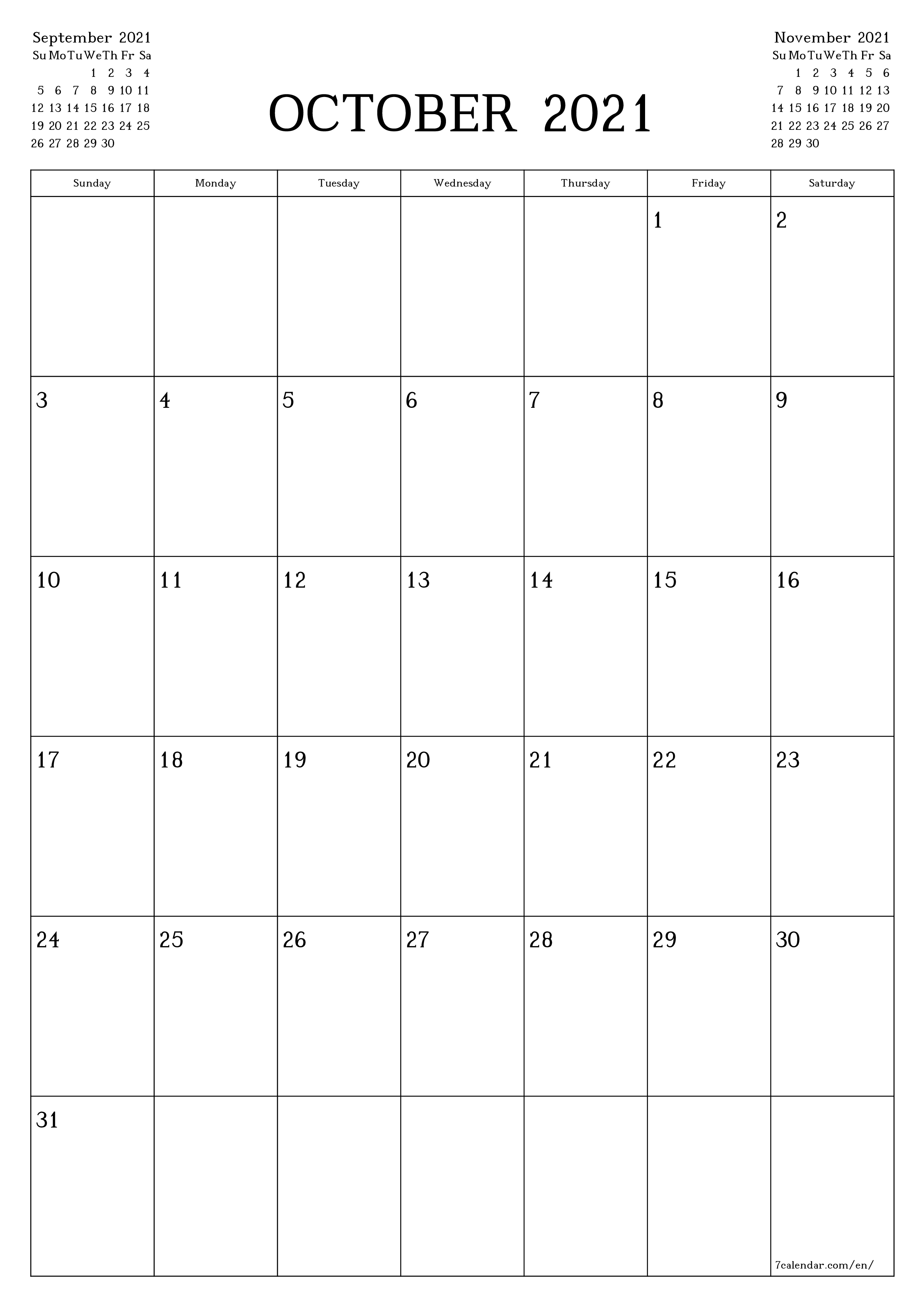 October 20 printable calendars and planners, PDF templates for ...