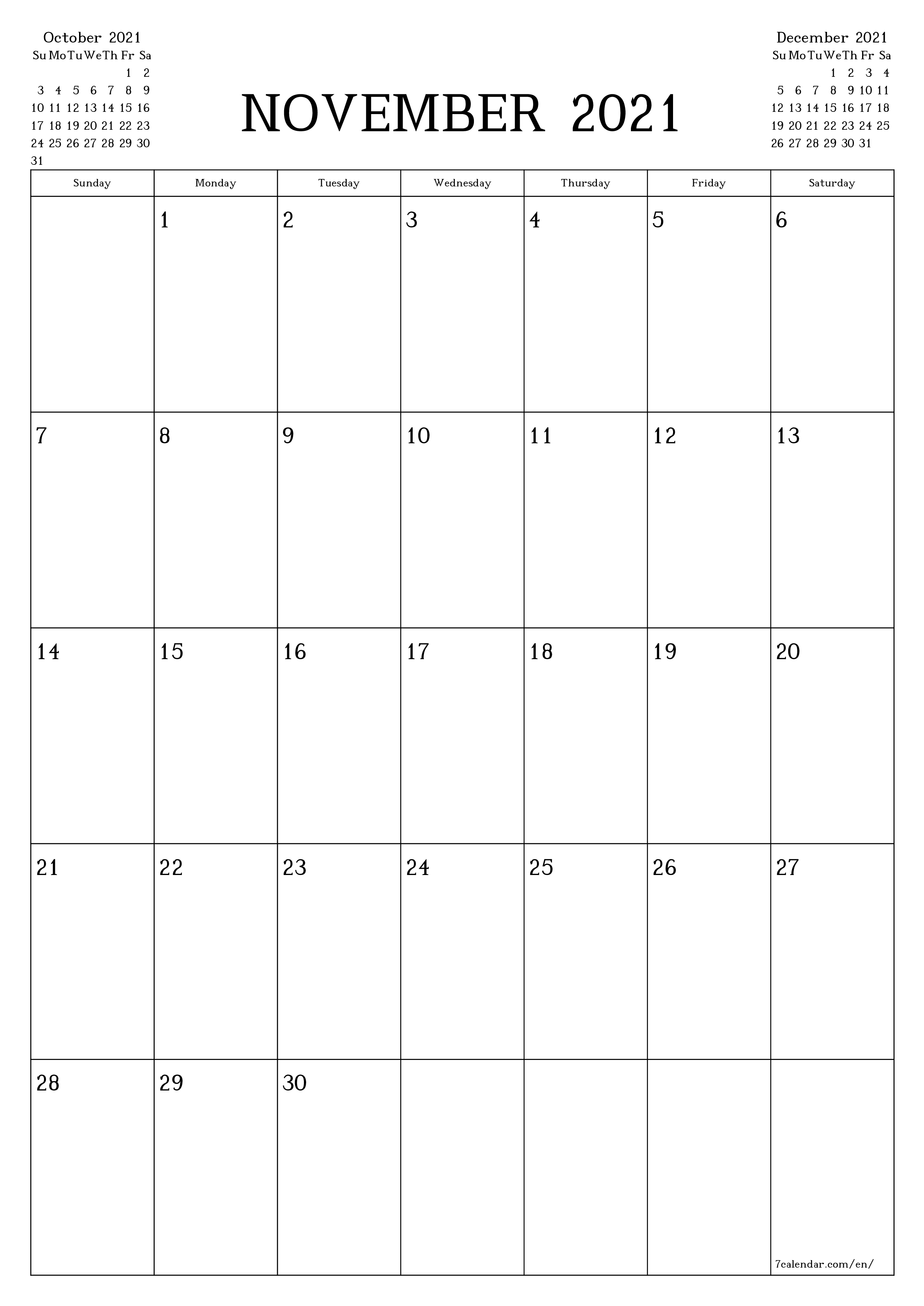 Blank monthly calendar planner for month November 2021 with notes save and print to PDF  - 7calendar.com