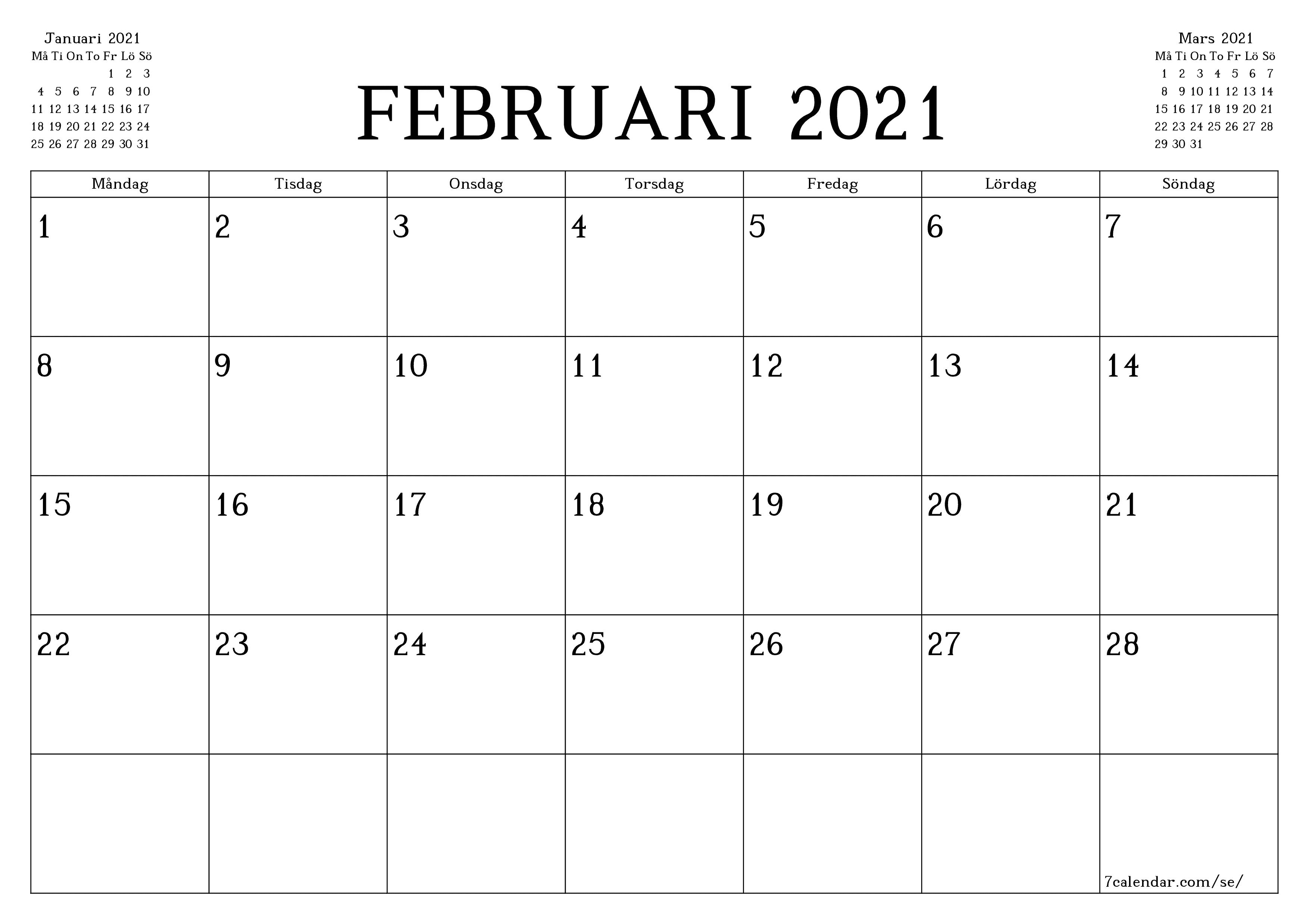 Utskrivbara Kalender 2021 Skriva Ut : Kalender Att Skriva ...