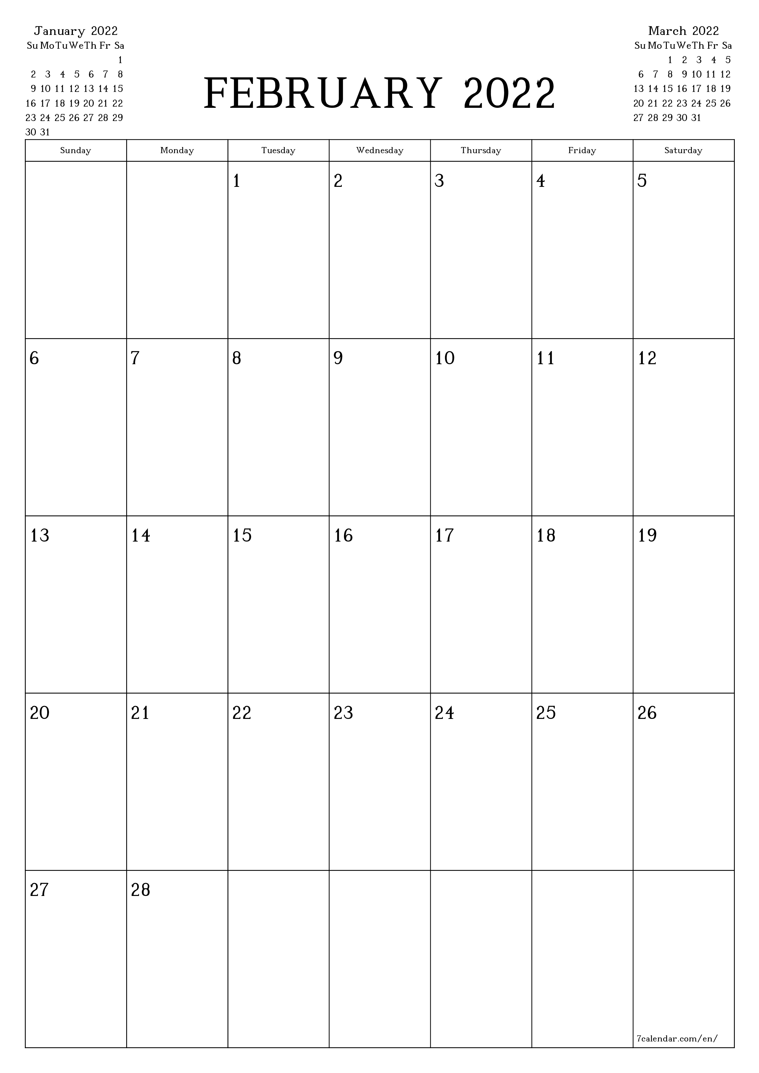 Blank monthly calendar planner for month February 2022 with notes save and print to PDF  - 7calendar.com