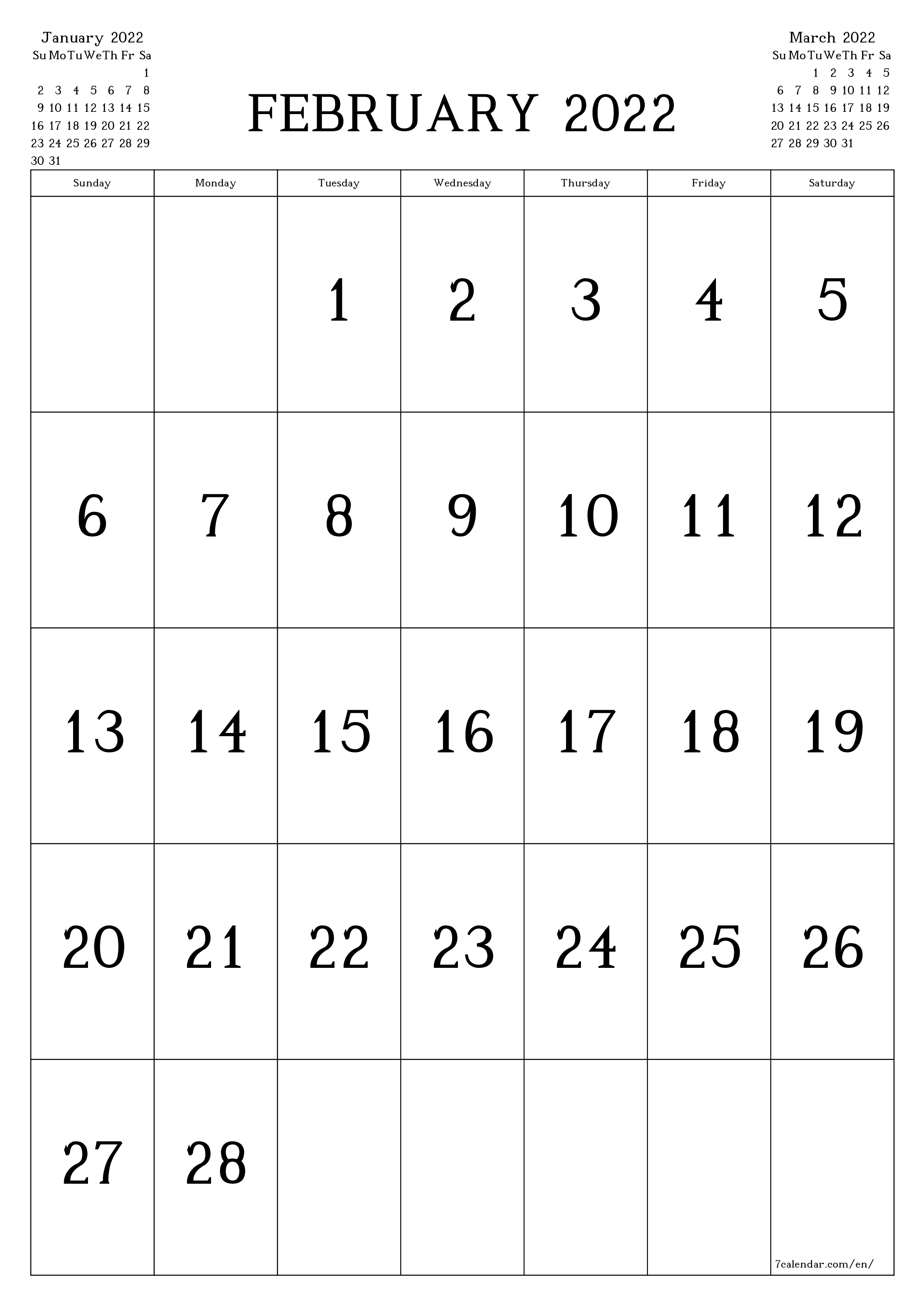Blank monthly calendar for month February 2022 save and print to PDF  - 7calendar.com