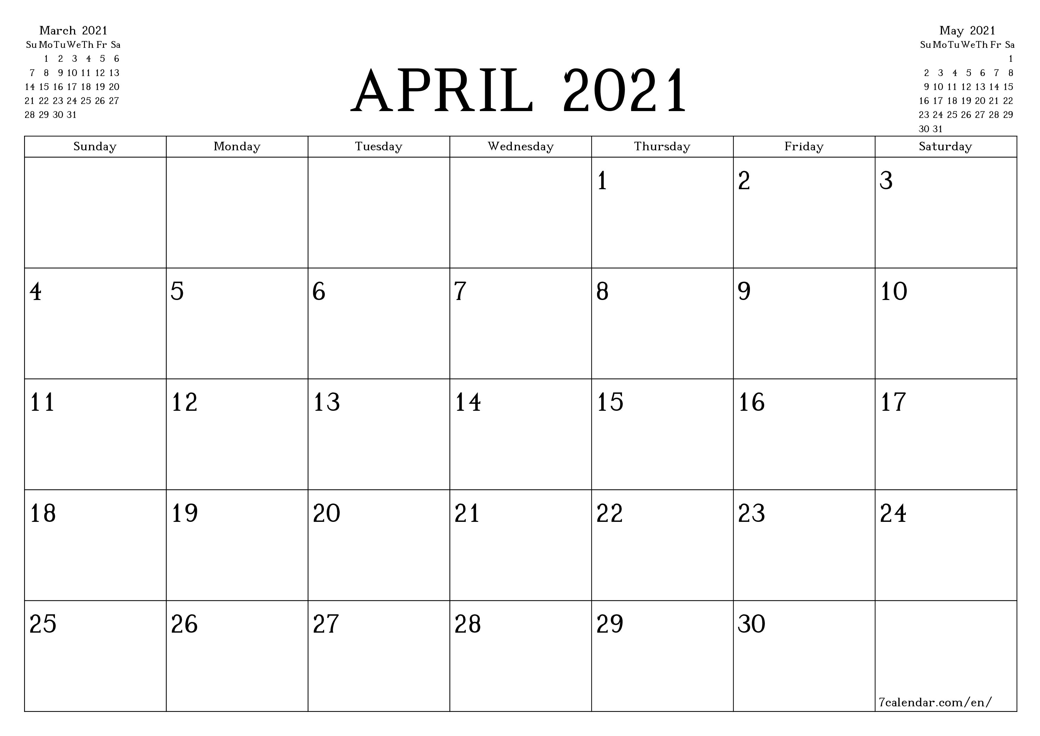 Blank monthly calendar planner for month April 2021 with notes save and print to PDF  - 7calendar.com