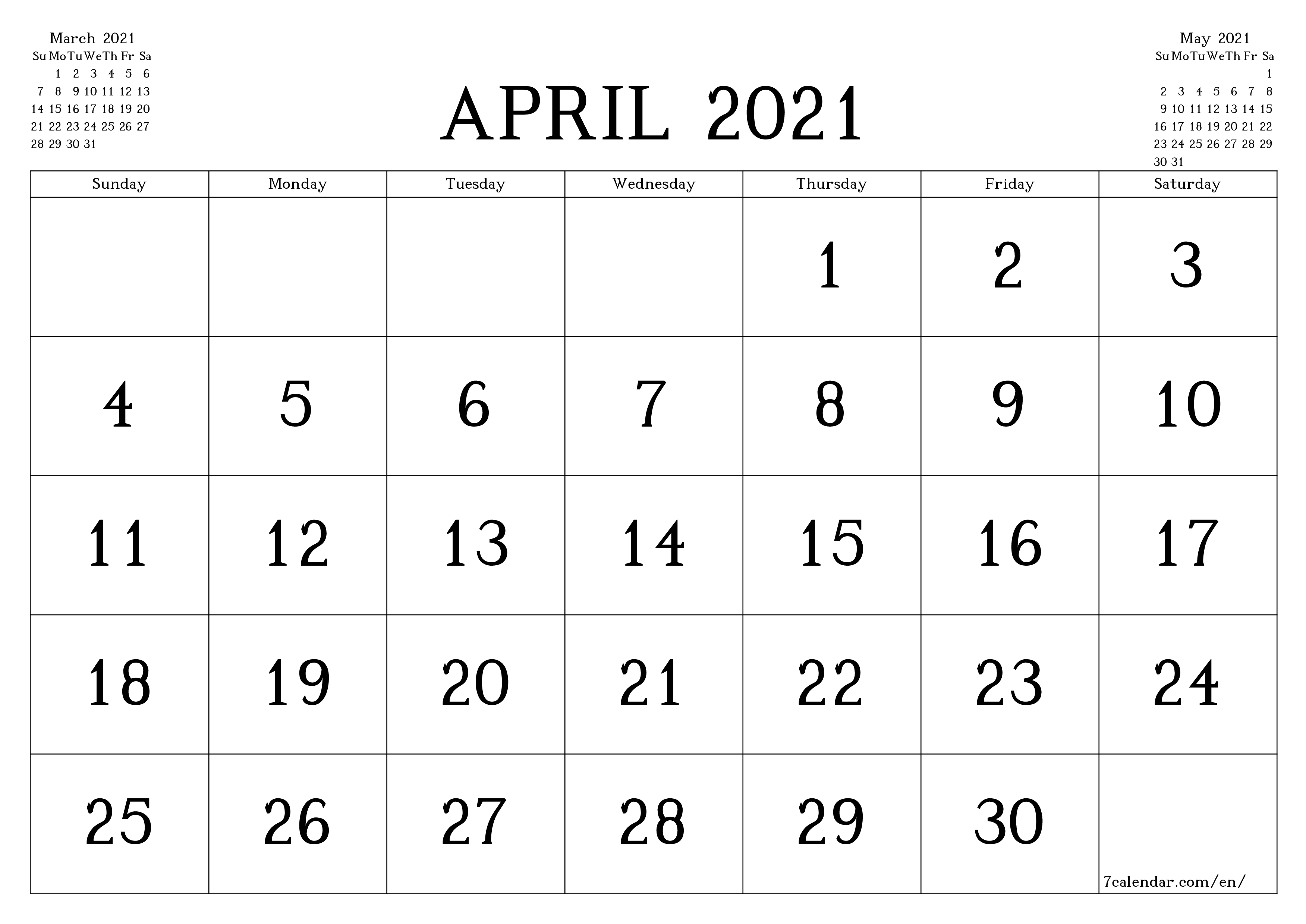 Blank monthly calendar for month April 2021 save and print to PDF  - 7calendar.com