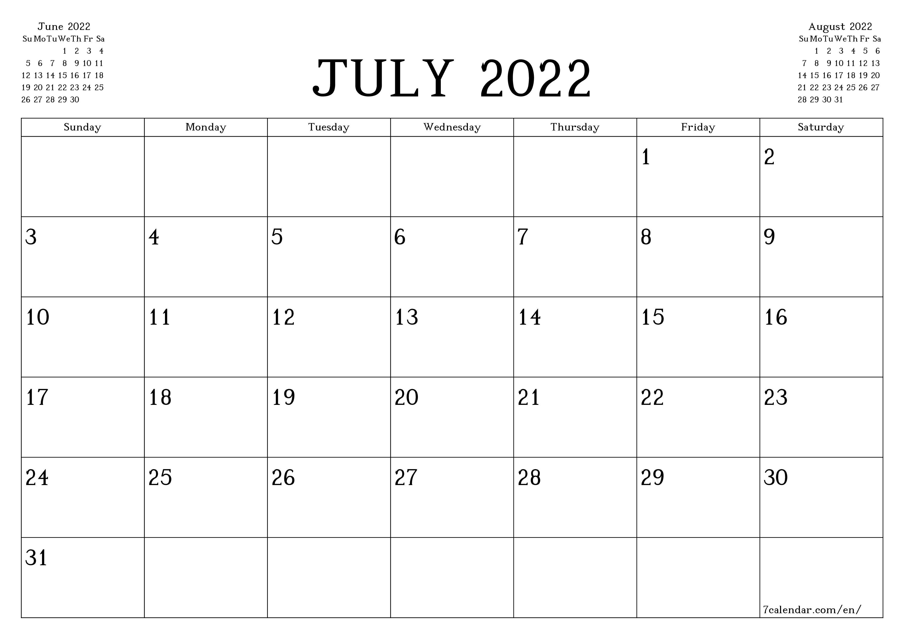 Blank monthly calendar planner for month July 2022 with notes save and print to PDF  - 7calendar.com