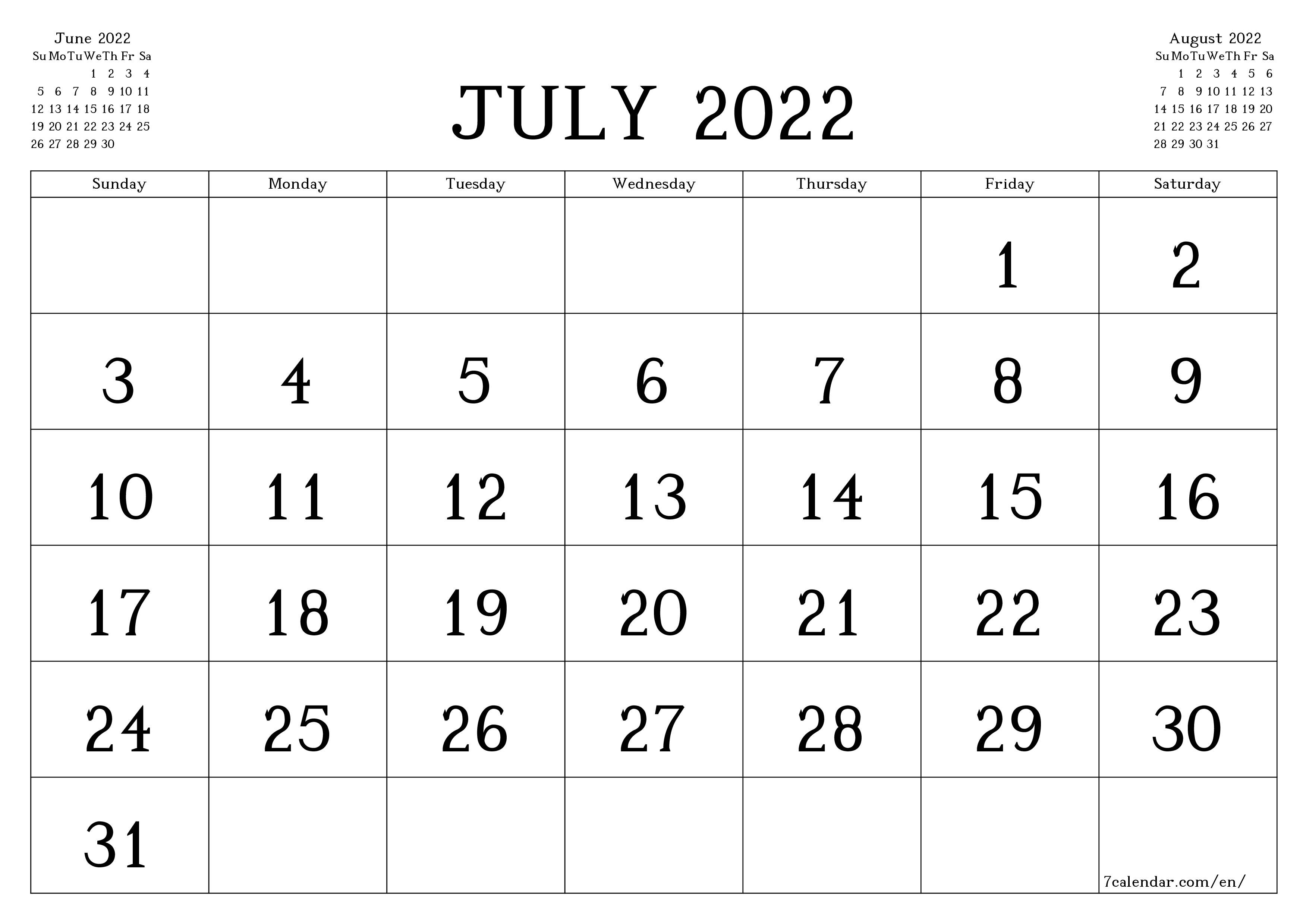 Blank monthly calendar for month July 2022 save and print to PDF  - 7calendar.com