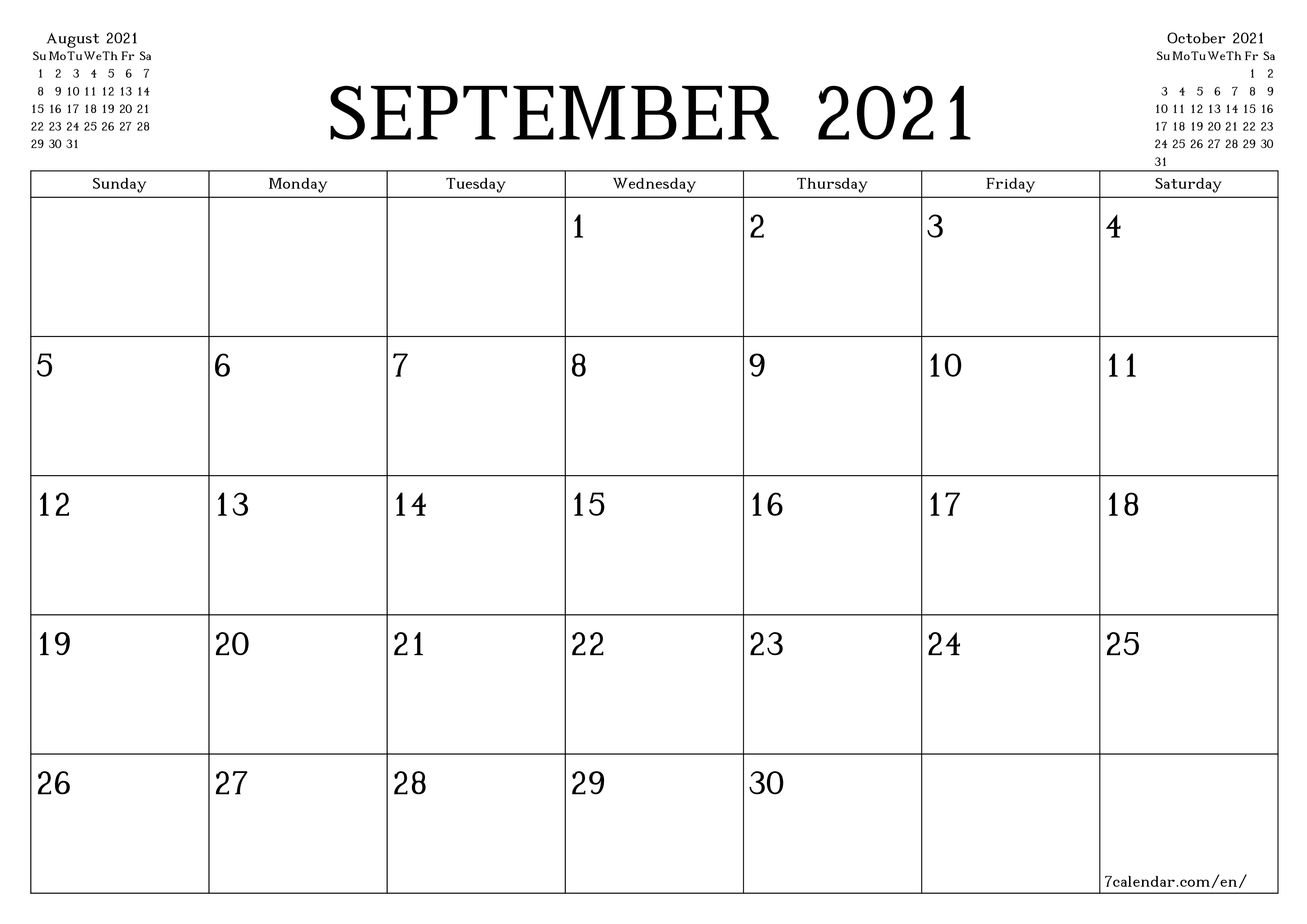 September 20 printable calendars and planners, PDF templates for ...