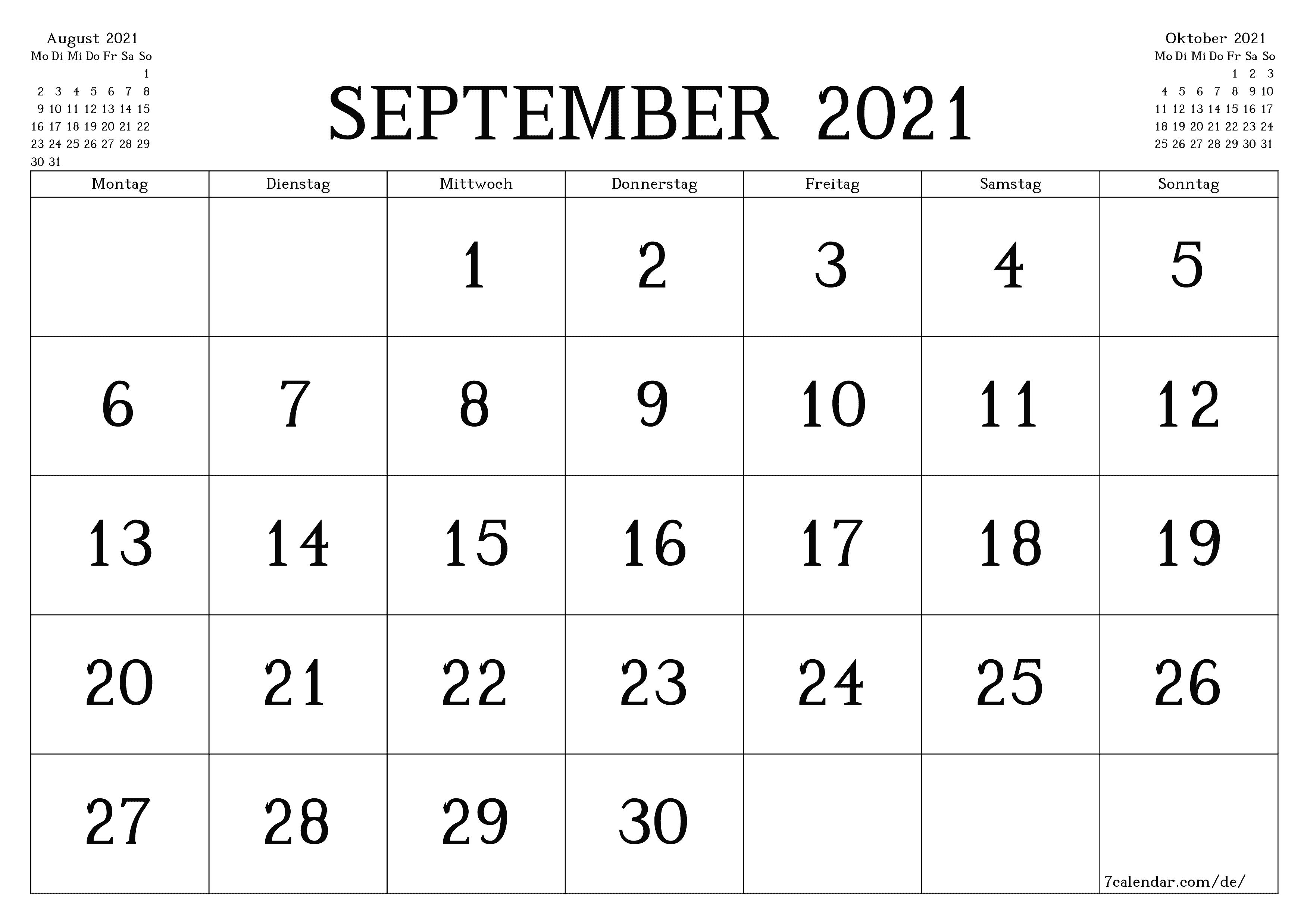 Kalender und Planer zum Drucken von September 20 A20, A20 in PDF ...