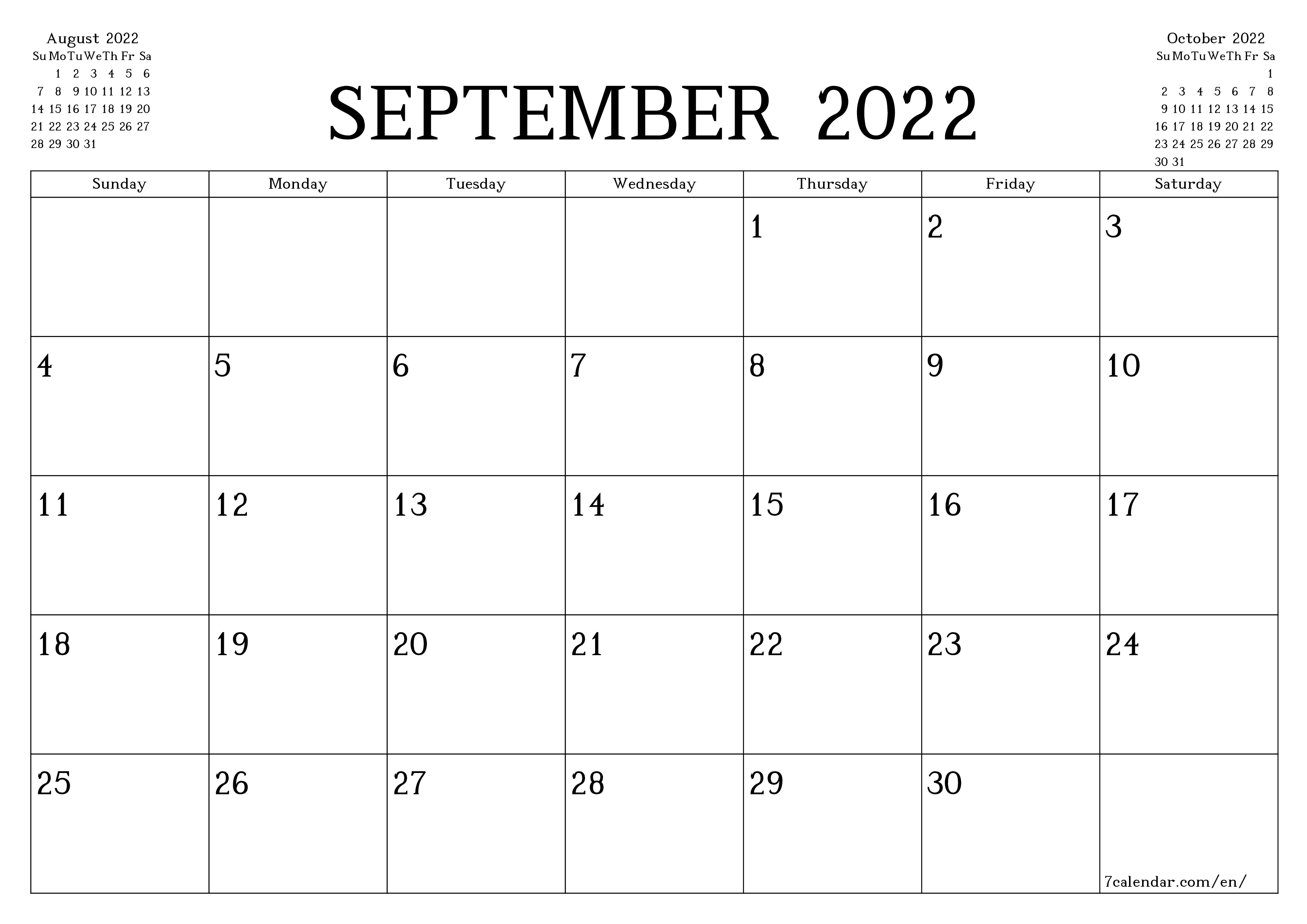 Blank monthly calendar planner for month September 2022 with notes save and print to PDF  - 7calendar.com