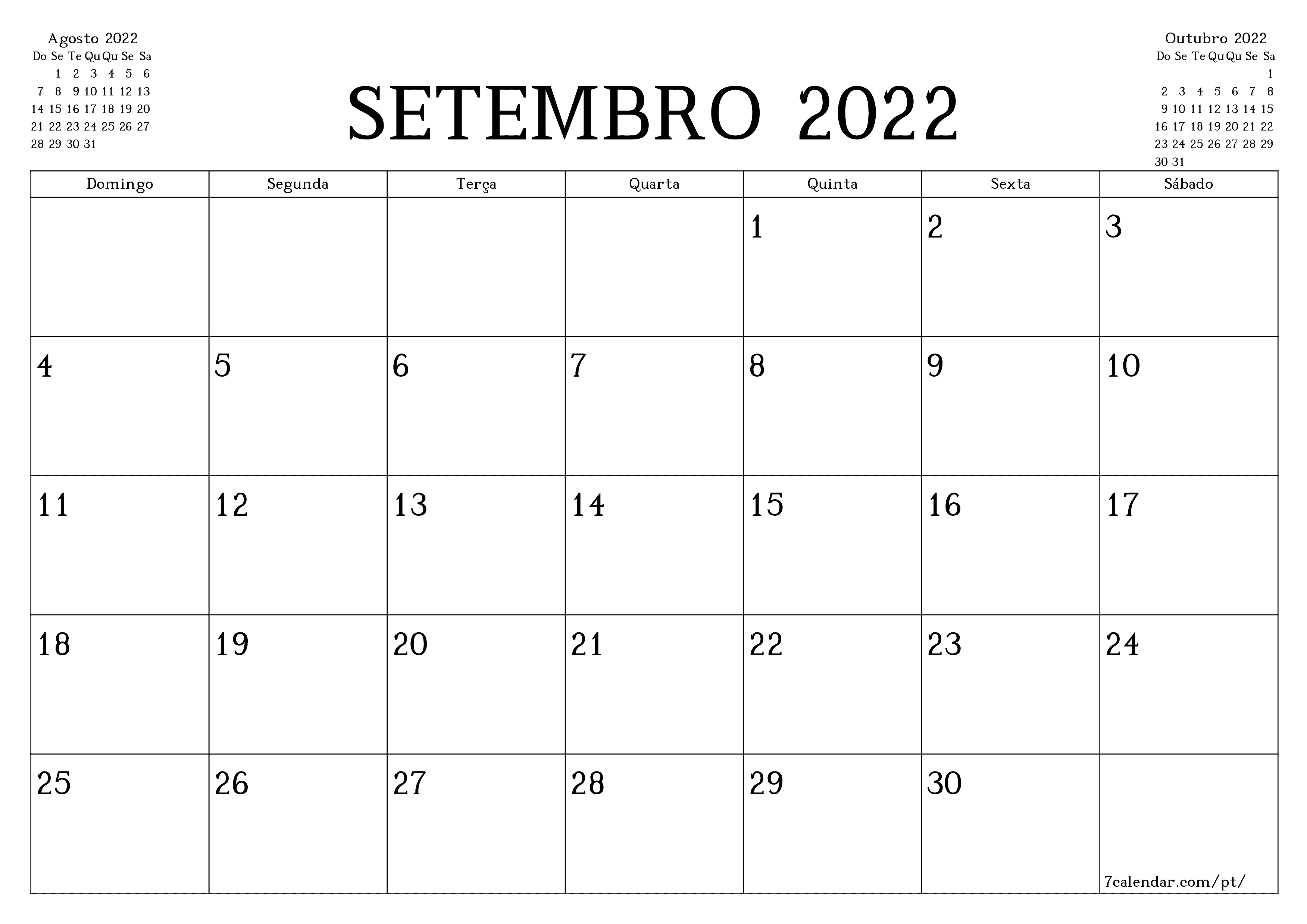 Calendarios E Planejadores Imprimiveis Para O Mes Setembro 2022 A4 A3 Para Pdf E Png 7calendar