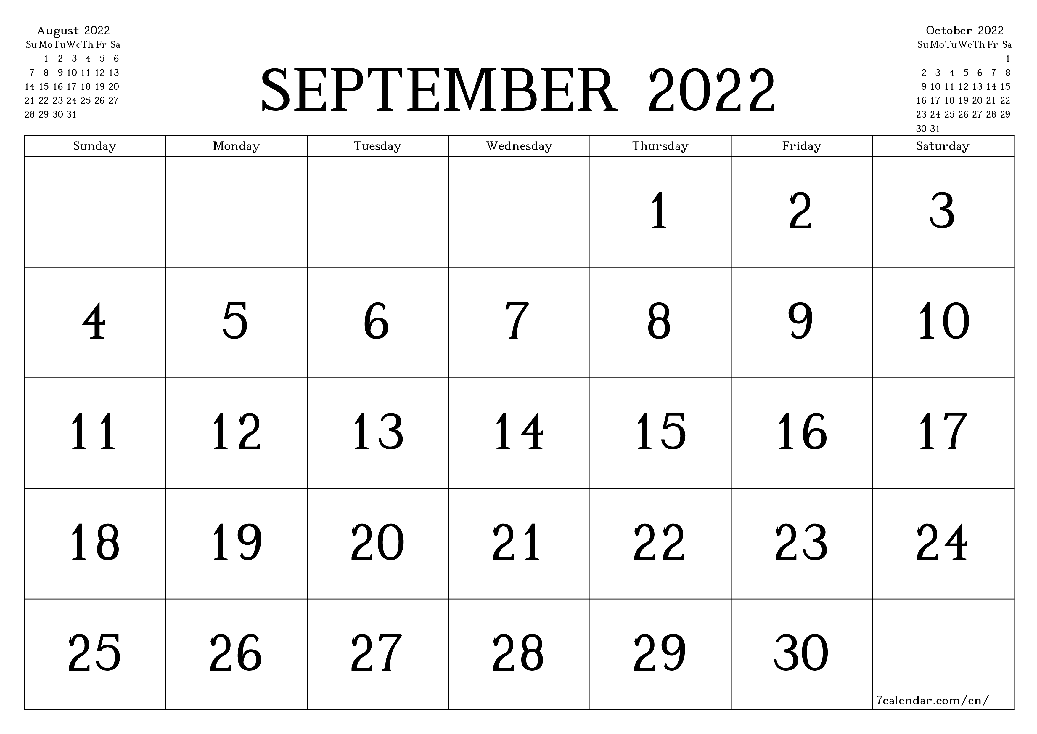 Blank monthly calendar for month September 2022 save and print to PDF  - 7calendar.com